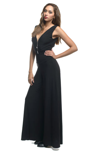 Black Plunging Neckline Jumpsuit