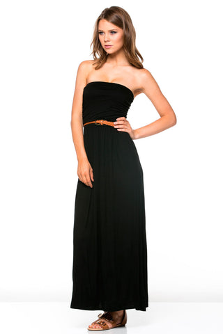 Black Ruched Tube Top Maxi Dress with Woven Belt
