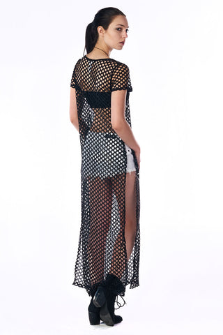 Black Short Sleeved Netted Maxi Dress