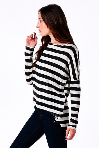Black Striped High-Low Boyfriend Top