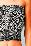 Black Tribal Print Smocked Tube Top