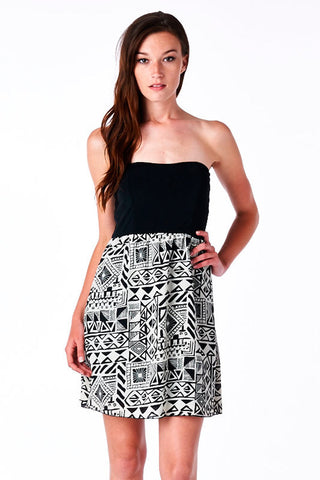 Black/White Tribal Print Tube Top Twofer Dress