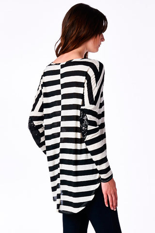 Black/White Striped Boyfriend Top with Sequin Elbow Patch