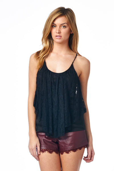 Black Lace Ruffle Tank