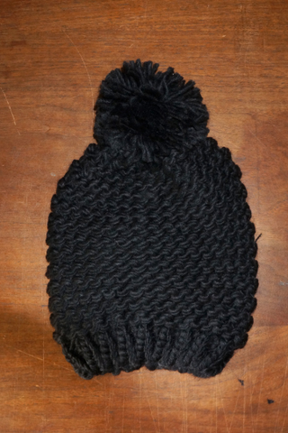 Premium Light Black Knit Super Soft Chunky Thick Cable Knit with Pom Pom Beanie Black Slouchy Hat