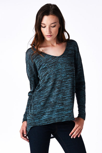 Blue Hacci High-Low Dolman Top