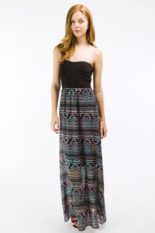 Blue Multi Ethnic Print Tube Maxi Dress