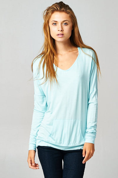 Blue Pullover Dolman Hoodie With Pockets