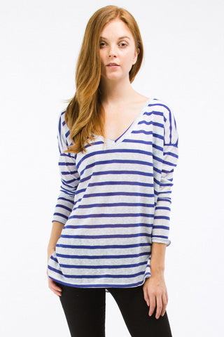 Blue Striped Boyfriend Off the Shoulder V-Neck Top