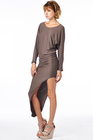 Brown Asymmetrical Dolman Dress
