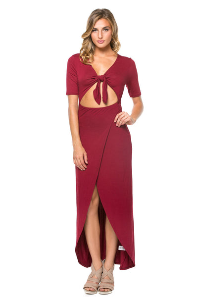 Burgundy Full Length Dress With Midriff Cutout Front Tie