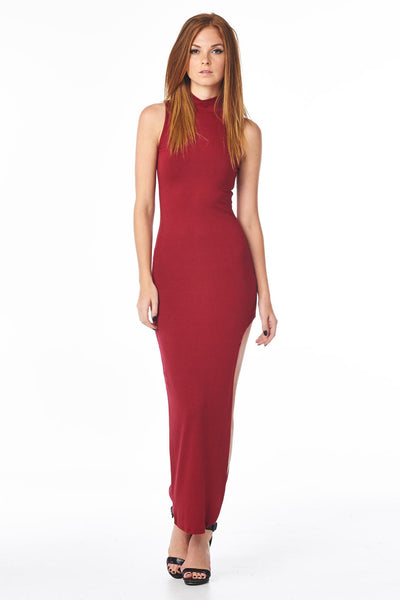 Burgundy Mock Neck Full Length Dress With Side Slit