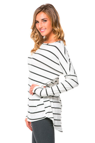 Charcoal Striped Oversized High Low Top