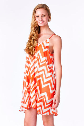 Coral Chevron Print Chiffon Babydoll Dress