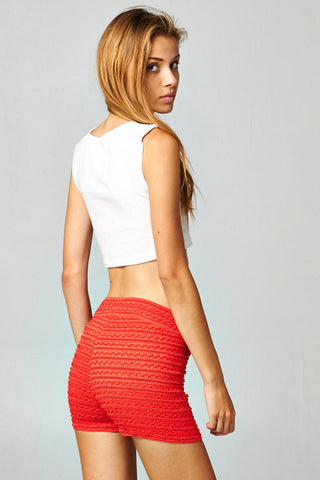 Coral Crochet Pull On Shorts