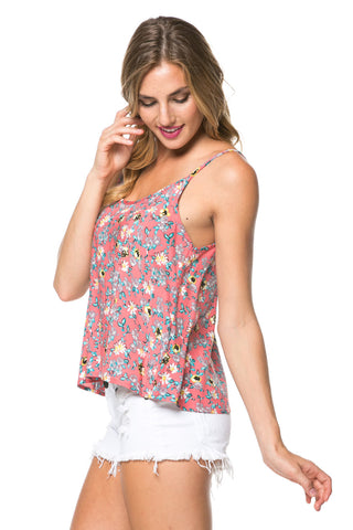 Coral Floral Print Swing Tank