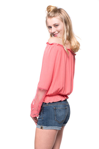 Coral Lace Bell Sleeve Top