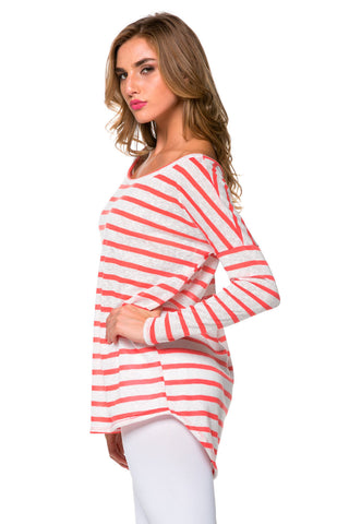 Coral Striped Boatneck Top