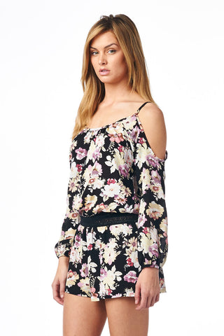 Festival Floral Print Cold Shoulder Romper Playsuit