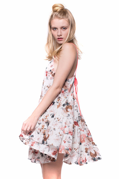 Festival Flirty Floral Lace up Back Tiered Babydoll  Mini Dress