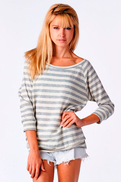 Heather Grey Striped French Terry Raglan Pullover