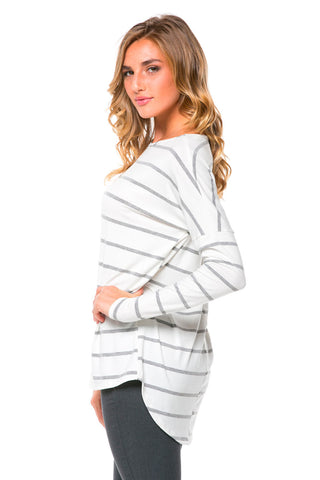 Heather Grey Striped Oversized High-Low Top