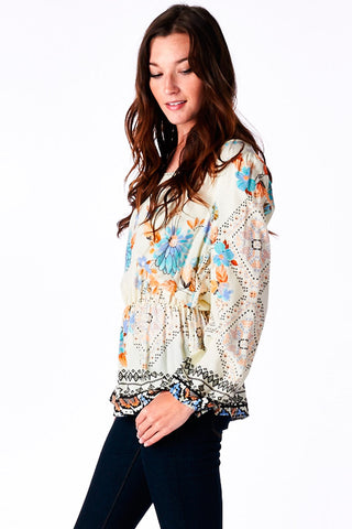 Ivory Floral Print Bubble Sleeve Top
