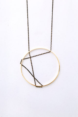 Gold Circle Necklace With Interlocking Chain Design