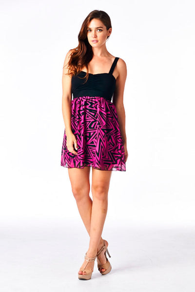 Magenta/Black Printed Twofer Tank Dress