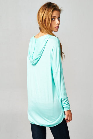 Mint Pullover Dolman Hoodie With Pockets