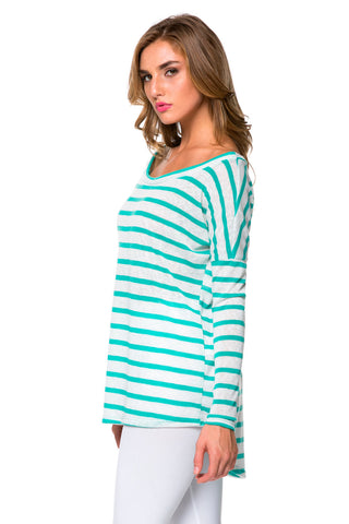 Mint Striped Boatneck Top