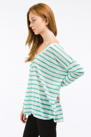 Mint Striped Boyfriend Off the Shoulder V-Neck Top
