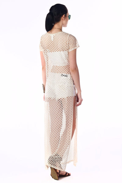 Streetstyle Mocha Short Sleeved Mesh Netted Maxi Cover Dress