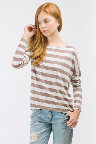 Mocha Striped Boyfriend Top With Sequins Elbow Patch