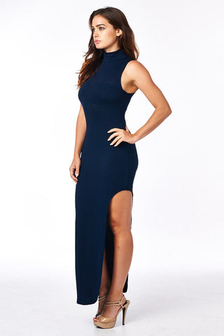 Navy Mock Neck Full Length Dress With Side Slit