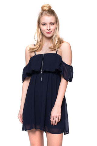 Navy Cold-Shoulder Dress
