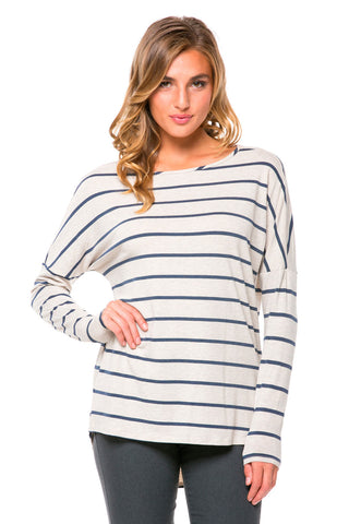 Navy Striped Oversized High-Low Top