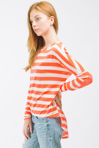 Neon Orange Striped Boyfriend Top With Sequins Elbow Patch