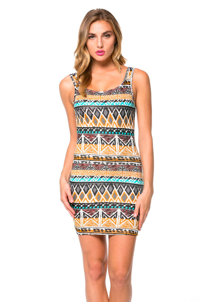 Neutral Tribal Print Bodycon Tank Dress