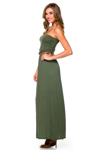 Olive Ruched Tube Top Maxi Dress with Woven Belt