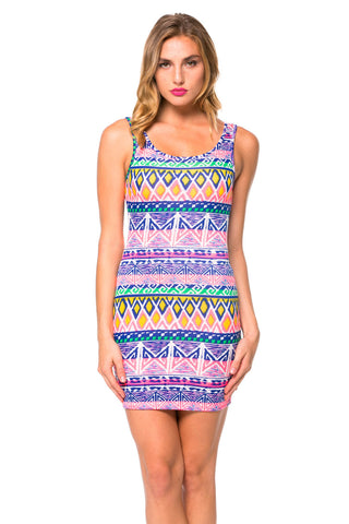 Pastel Tribal Print Bodycon Tank Dress