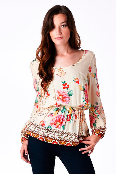 Peach Floral Print Bubble Sleeve Top