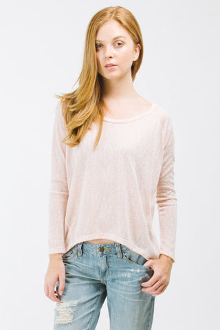 Peach High-Low Long Sleeve Top