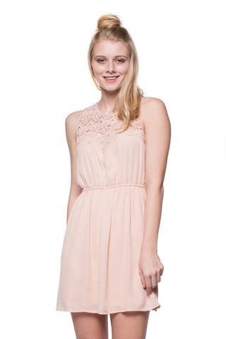 Pink Crochet Neckline Dress