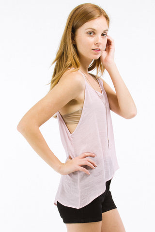 Pink V-Neck Tank with Triangle Cut-Out Back