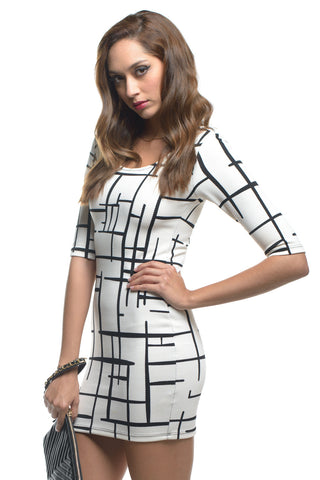 Printed 3/4 Sleeve Bodycon Dress