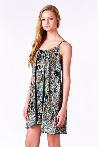 Printed Chiffon Babydoll Dress with Scoop Back