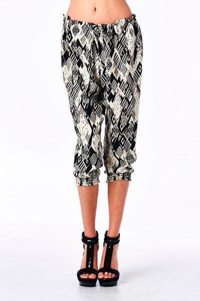 Printed Harem Pant with Smocked Cuff