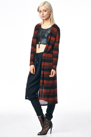 Rust Multi Striped Long Cardigan with Elbow Patch