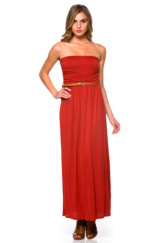 Rust Ruched Tube Top Maxi Dress with Woven Belt